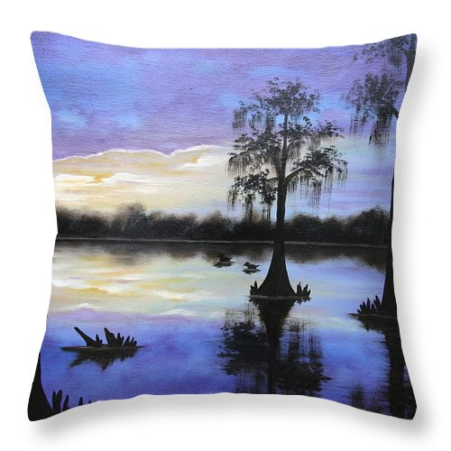 Seascape Throw Pillow featuring the painting Atchafalya Sunrise by Ruth Bares