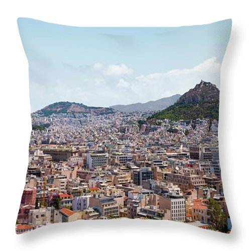 Greek Culture Throw Pillow featuring the photograph Athens Panorama View From The Acropolis by Ed Freeman