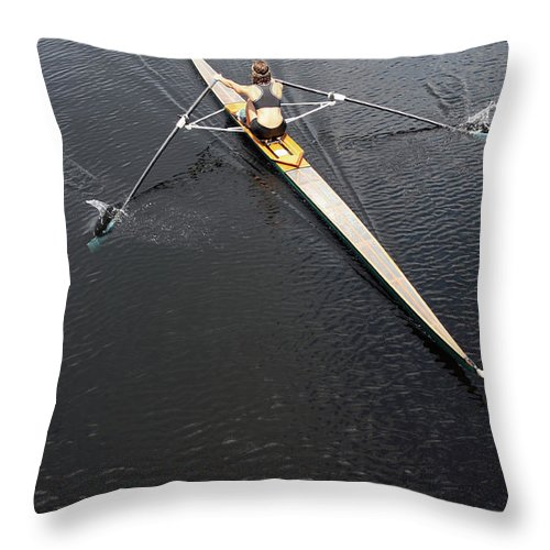 Sport Rowing Throw Pillow featuring the photograph Athlete Rowing And Sculling by Shanekato