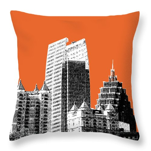 Architecture Throw Pillow featuring the digital art Atlanta Skyline 2 - Coral by DB Artist