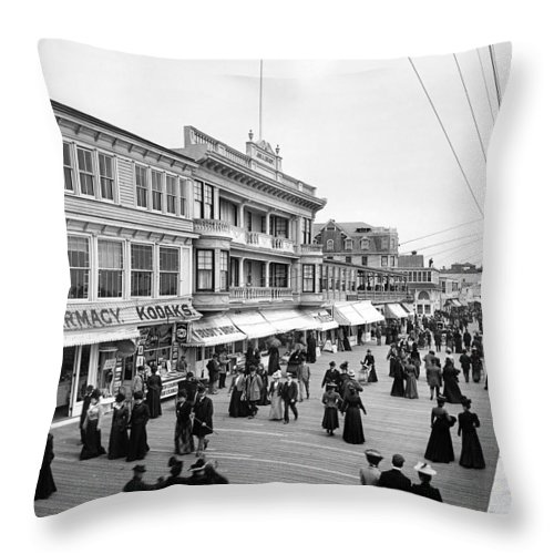 1890 Throw Pillow featuring the photograph Atlantic City Boardwalk by Granger