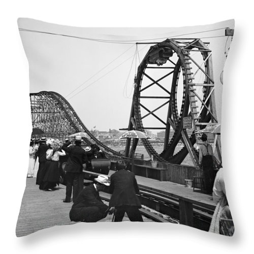 1902 Throw Pillow featuring the photograph Atlantic City, C1902 by Granger