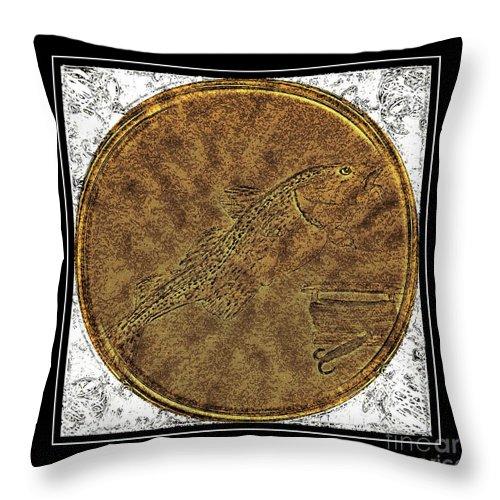 Atlantic Codfish And Jigger Brass Etching Throw Pillow featuring the photograph Atlantic Codfish And Jigger - Brass Etching by Barbara Griffin