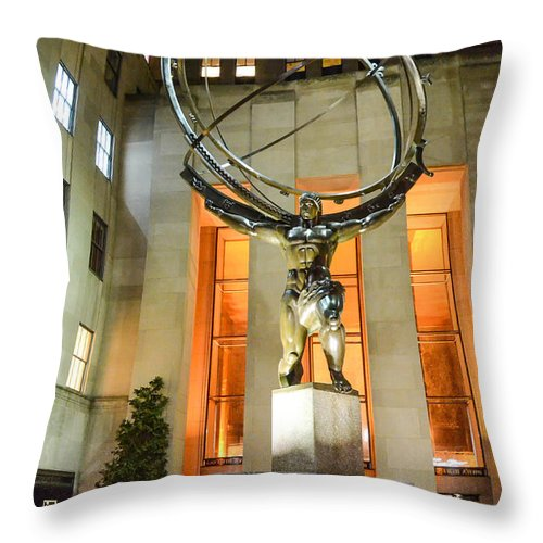 Atlas Statue Throw Pillow featuring the photograph Atlas In Rockefeller Center by Guy Whiteley
