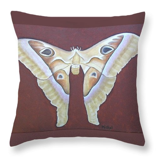 Mishel Vanderten Throw Pillow featuring the painting Atlas Moth by Mishel Vanderten
