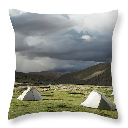Tranquility Throw Pillow featuring the photograph Atmospheric Grassy Camping by Jamie Mcguinness - Project Himalaya