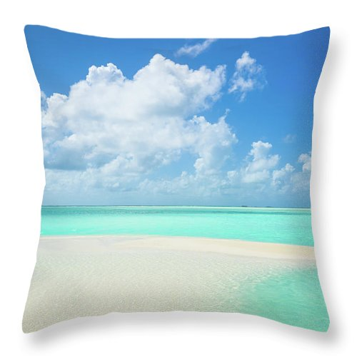 Seascape Throw Pillow featuring the photograph Atoll Lagoon Sand Bank Turquoise Clear by Mlenny