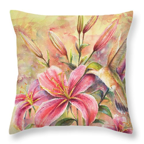 Birds Throw Pillow featuring the painting Attractive Fragrance by Arthur Fix