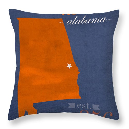 Auburn University Throw Pillow featuring the mixed media Auburn University Tigers Auburn Alabama College Town State Map Poster Series No 016 by Design Turnpike