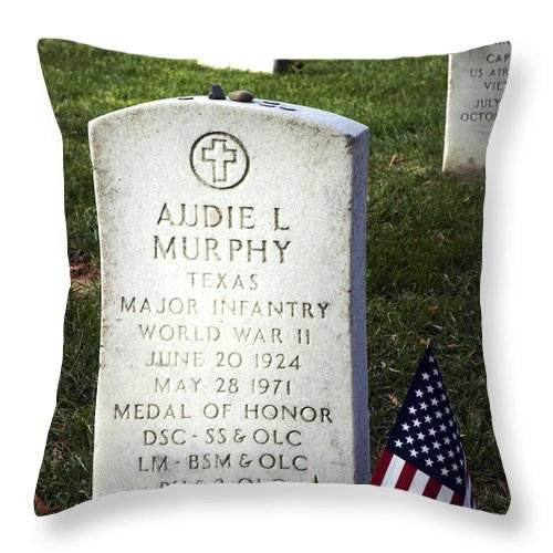 Audie Murphy Throw Pillow featuring the photograph Audie Murphy - Most Decorated by Paul W Faust - Impressions of Light
