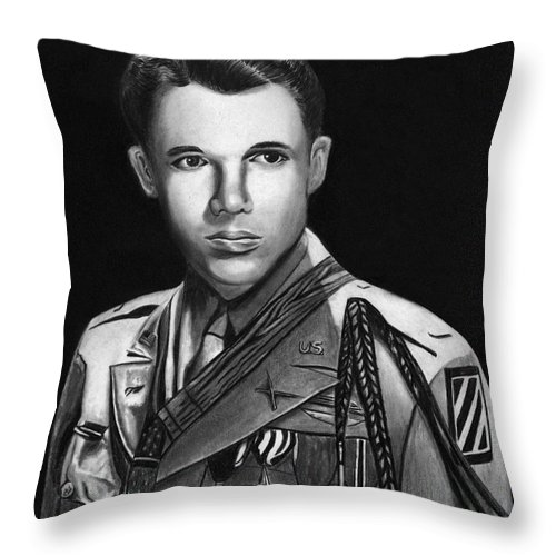 Audie Murphy Throw Pillow featuring the drawing Audie Murphy by Peter Piatt