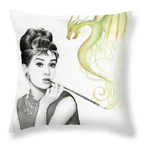Audrey Throw Pillow featuring the painting Audrey And Her Magic Dragon by Olga Shvartsur