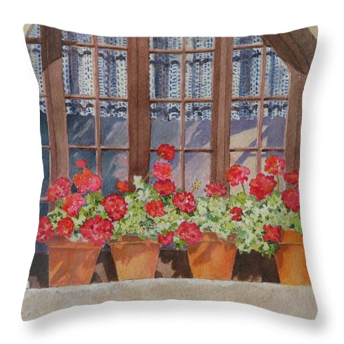 Watercolor Throw Pillow featuring the painting August At The Auberge by Mary Ellen Mueller Legault