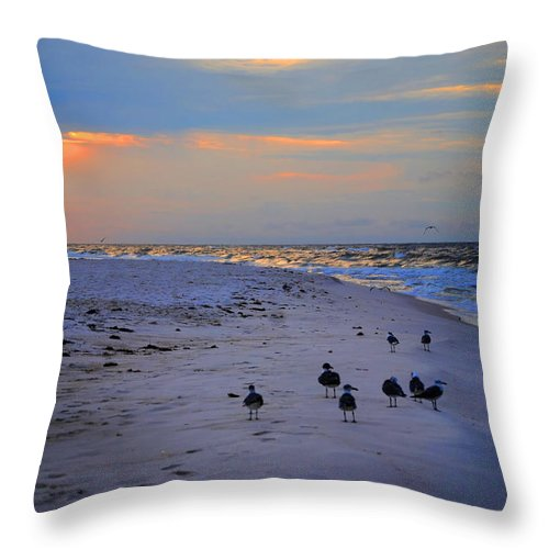 Palm Throw Pillow featuring the digital art August Beach Morning With The Sea Gulls by Michael Thomas