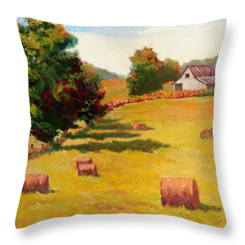 Impressionism Throw Pillow featuring the painting August Hay Field by Keith Burgess