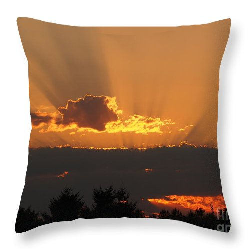 August Throw Pillow featuring the photograph August Sunset by Jacklyn Duryea Fraizer