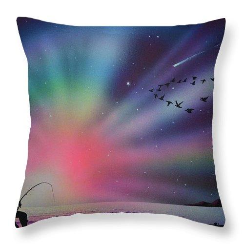 Aurora Borealis Throw Pillow featuring the painting Aurora Borealis Gone Fishing by Thomas Kolendra