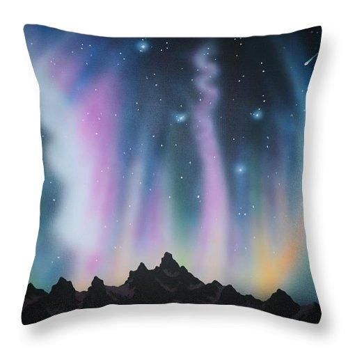 Aurora Borealis Throw Pillow featuring the painting Aurora Borealis in the Rockies by Thomas Kolendra