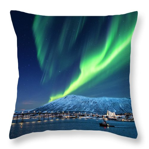 Scenics Throw Pillow featuring the photograph Aurora Borealis Over Tromso Port by Mike Hill