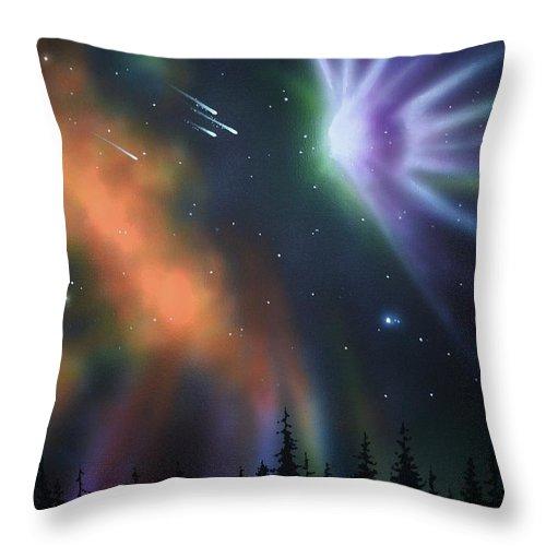 Aurora Borealis Throw Pillow featuring the painting Aurora Borealis with 4 shooting stars by Thomas Kolendra