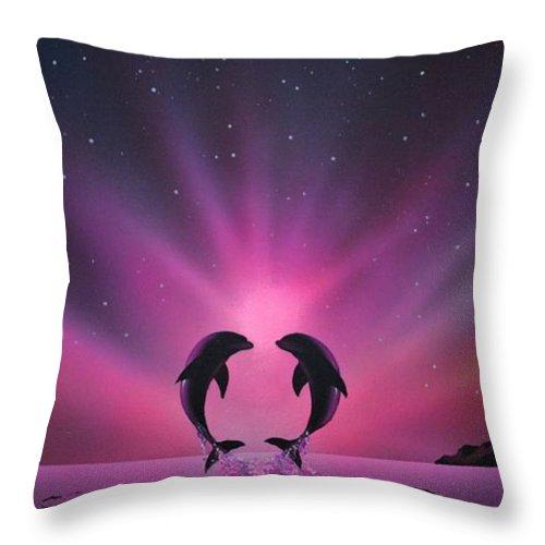 Aurora Borealis Throw Pillow featuring the painting Aurora Borealis with two Dolphins by Thomas Kolendra