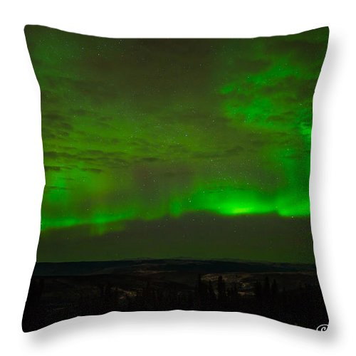 Alaska Throw Pillow featuring the photograph Aurora Flare With Clouds by Joan Wallner