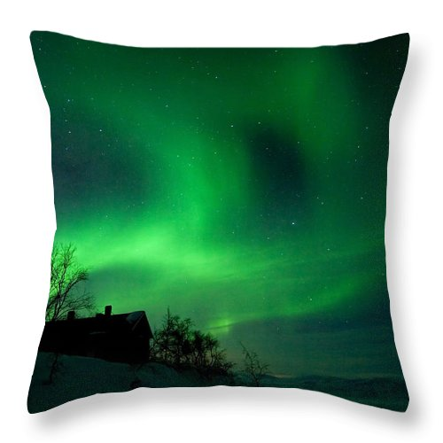 Aurora Throw Pillow featuring the photograph Aurora Over Lake Tornetrask by Max Waugh