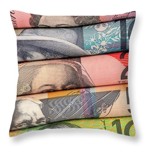 Rolled Throw Pillow featuring the photograph Aussie Dollars 01 by Rick Piper Photography
