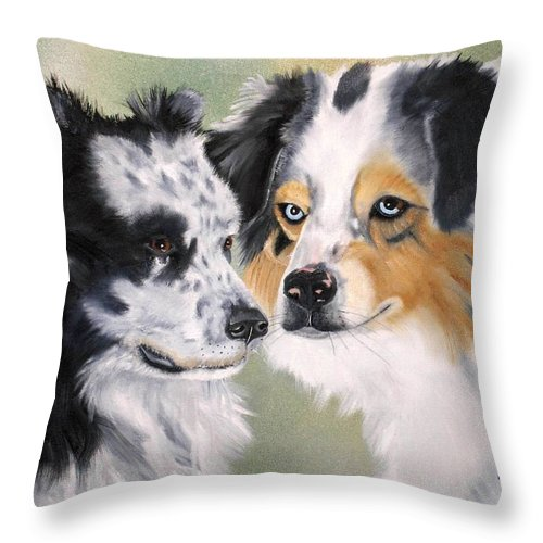 Australian Shepherd Throw Pillow featuring the painting Aussies by Debbie LaFrance