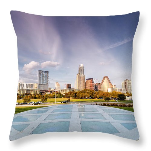 Downtown Throw Pillow featuring the photograph Austin Skyline From The Longs Center For The Performing Arts by Silvio Ligutti