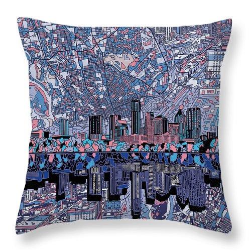 Austin Texas Throw Pillow featuring the painting Austin Texas Skyline 3 by Bekim Art