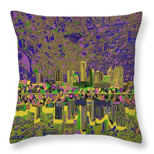 Austin Texas Throw Pillow featuring the painting Austin Texas Skyline by Bekim Art