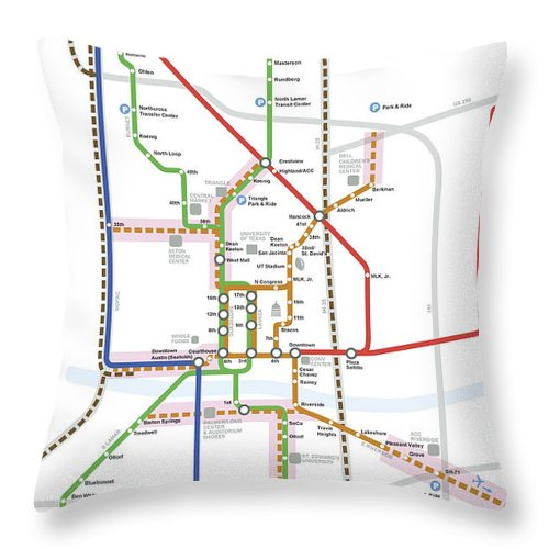 Austin Throw Pillow featuring the digital art Austin Texas Transit System by Daniel Hagerman