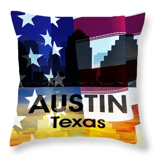 City Silhouette Throw Pillow featuring the digital art Austin Tx Patriotic Large Cityscape by Angelina Vick