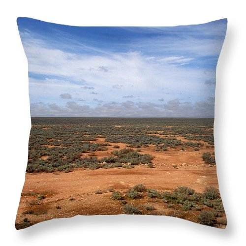 No People; Horizontal; Outdoors; Day; Elevated View; Cloud; Tropical; Non Urban Scene; Horizon Over Land; Landscape; Scenics; Beauty In Nature; Australia; Plain; Flat; Sky; Plant Throw Pillow featuring the photograph Australia Null Harbor Plain by Anonymous