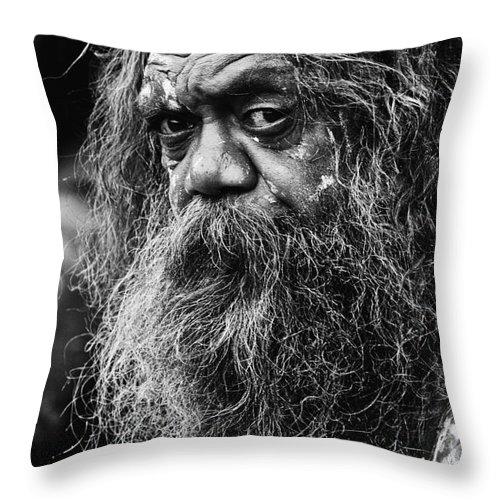 Australian Aboriginal Throw Pillow featuring the photograph Australian aboriginal busker by Sheila Smart Fine Art Photography