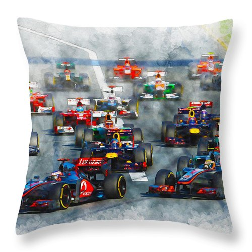 Formula One Racing Throw Pillow featuring the digital art Australian Grand Prix F1 2012 by Don Kuing