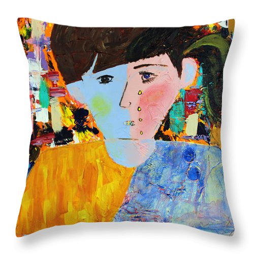 Abstract Throw Pillow featuring the painting Autism - Child And Mother by Carmencita Balagtas