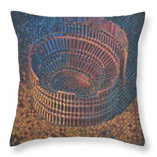 Roman Throw Pillow featuring the painting Autumn Amphitheatre by Mark Jones