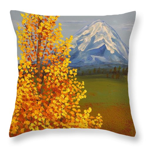 Mt. Shasta Throw Pillow featuring the painting Autumn At Mt Shasta by Wanda Pepin