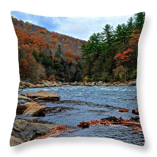 Autumn Throw Pillow featuring the photograph Autumn At The Youghiogheny by Jake Donaldson