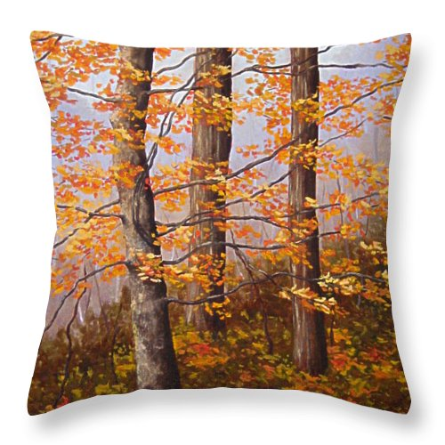 Autumn Throw Pillow featuring the painting Autumn At Tishomingo State Park by Darla Brock