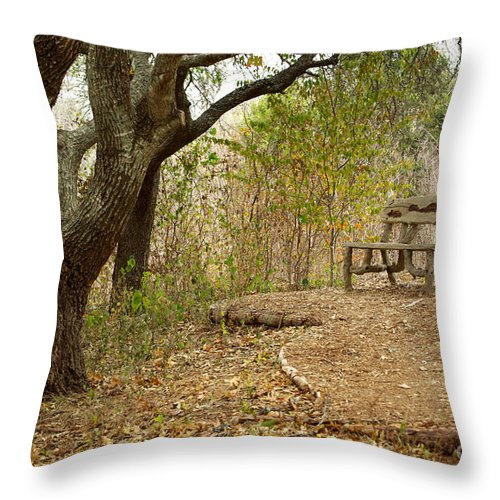 Autumn Bench Throw Pillow featuring the photograph Autumn Bench by Gary Richards