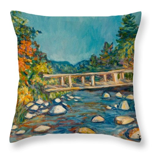 Kendall Kessler Throw Pillow featuring the painting Autumn Bridge by Kendall Kessler