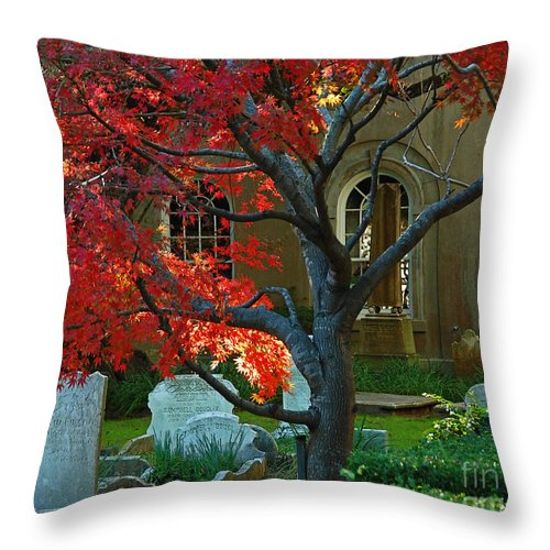 Charleston Throw Pillow featuring the photograph Autumn Charleston Churchyard by Deborah Smith