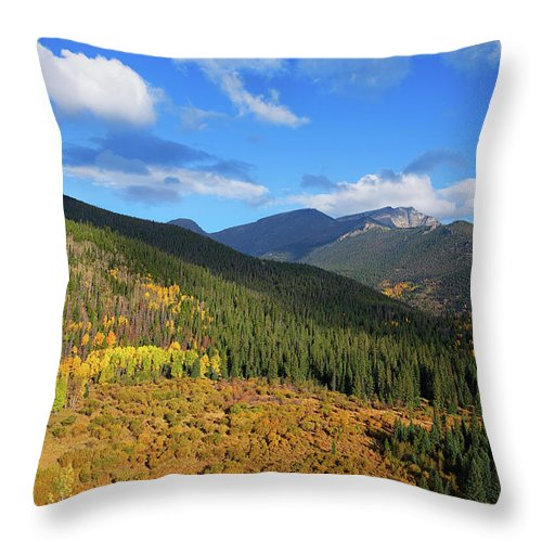 Scenics Throw Pillow featuring the photograph Autumn Color In Colorado Rockies by A L Christensen