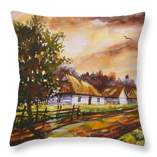 Autumn Cottages Throw Pillow featuring the painting Autumn Cottages by Dariusz Orszulik