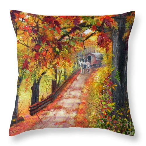 Scenery Throw Pillow featuring the painting Autumn Dreams by Lora Duguay