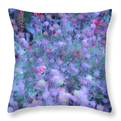 Blue Throw Pillow featuring the photograph Autumn Flowers In Blue by Angela Stanton