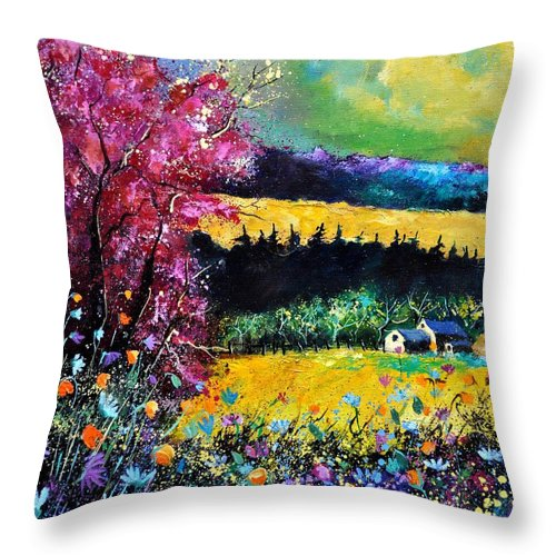 Landscape Throw Pillow featuring the painting Autumn Flowers by Pol Ledent